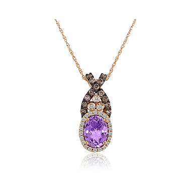 Amethyst & Diamond Pendant in 14K Rose Gold