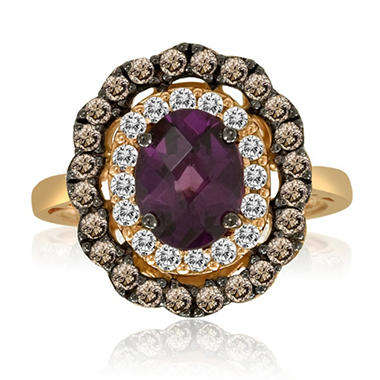 Rhodolite Garnet, White Sapphire and Smoky Quartz Ring in 14K Rose Gold