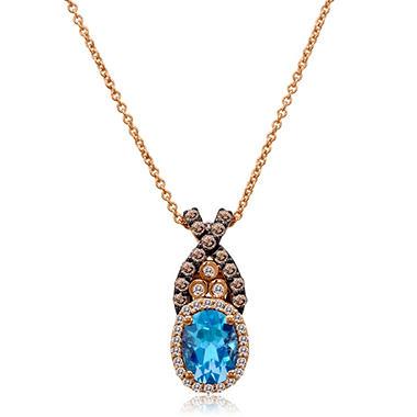 Blue Topaz, White and Diamond Pendant in 14K Rose Gold