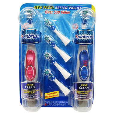 Arm & Hammer Spinbrush Toothbrushes - 2 pk. with 4 refill Bonus