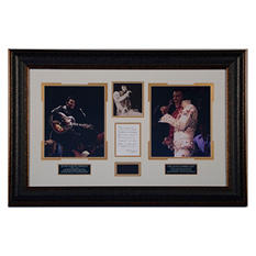 Elvis Presley Worn Scarf and Photos in Wood Frame