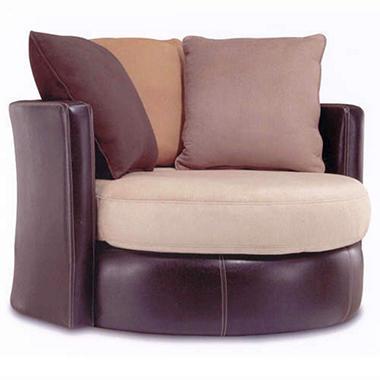 Bi-Cast/Suede Combination Swivel Chair - Mocha