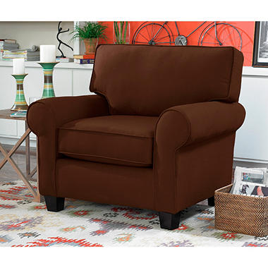 Lass Rolled Arm Chair, Chocolate