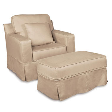 Slip Cover Chair and Ottoman.
