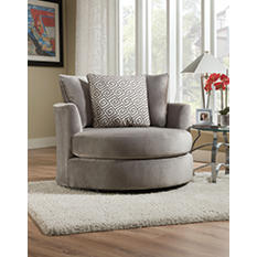 Keesling Round Swivel Chair, Grey