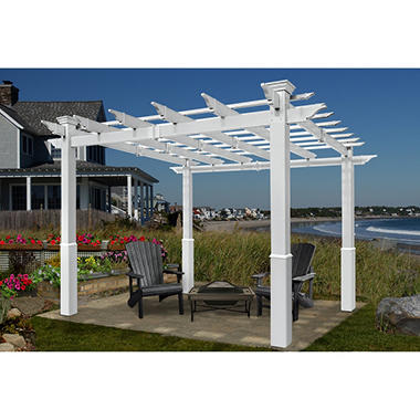 Bel Aire 8 ft. x 8 ft. White Vinyl Pergola with Tall Base Molding