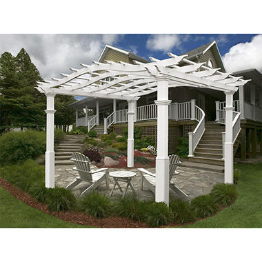 Riviera 10 ft. x 10 ft. White Vinyl Pergola with Tall Base Moulding