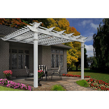 Atrium 12' x 12' White Vinyl attached Pergola