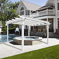 Renaissance 12' x 12'  White Vinyl Pergola with Tall Base Moldings