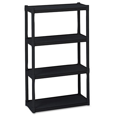 Iceberg - Rough N Ready 4 Shelf Open Storage System, Resin, 32w x 13d x 54h - Black