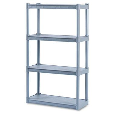 Iceberg - Rough N Ready 4 Shelf Open Storage System, Resin, 32w x 13d x 54h - Charcoal
