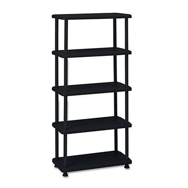 Iceberg - Rough N Ready 5 Shelf Open Storage System, Resin, 36w x 18d x 74h - Black