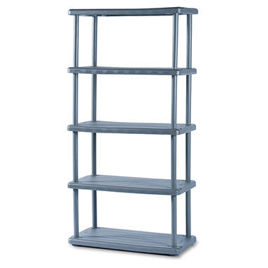 Iceberg - Rough N Ready 5 Shelf Open Storage System, Resin, 36w x 18d x 74h - Charcoal