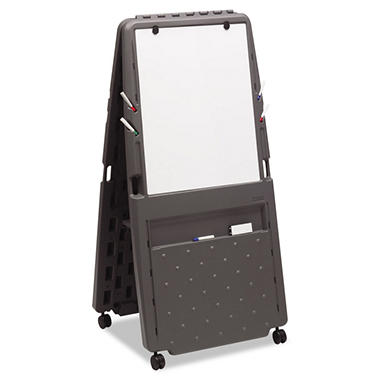 "Iceberg Presentation Flipchart Easel with Dry Erase Surface - Resin - 33""W x 28""D x 73""H - Charcoal"