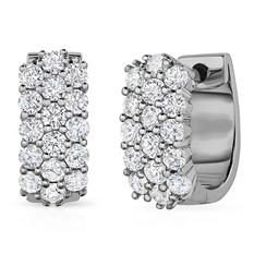 .96 ct. t.w. Diamond Huggie Earrings in 14K White (I, I1) (Appraisal Value: $1,185)