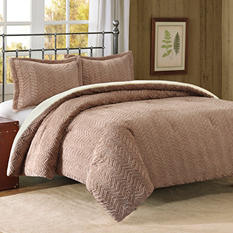 Brushed Long Fur Down Alt Comforter Mini Set - Full/Queen (Brown)