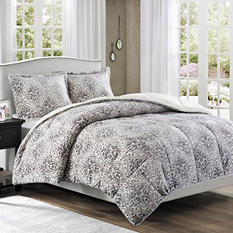 Printed Microlight Down Alt Comforter Mini Set -  Full/Queen (Gray)