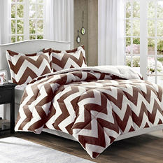 Printed Microlight Down Alt Comforter Mini Set - King (Brown)