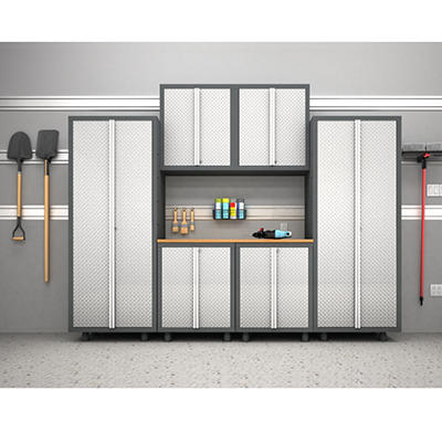 NewAge Bold Diamond Plate 7 Piece Welded Steel Cabinet Set with 2 Door Base Cabinets