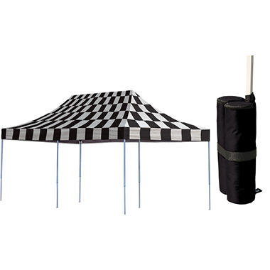 10 X 20 Ft Pop Up Canopy With Anchor Bags Checkered
