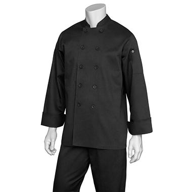 "Chef Works Bastille Basic Chef Coat - Black - ""S"""