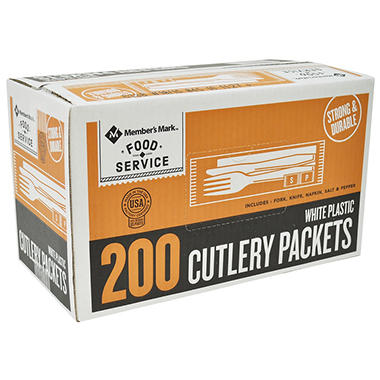 Bakers & Chefs Plastic Cutlery Packets, White (200 ct.)