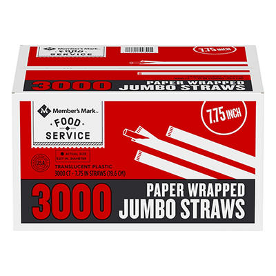 Bakers & Chefs Jumbo Wrapped Straws - 3,000 ct.
