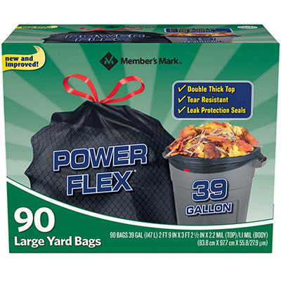 Member's Mark 39 gal. Power-Guard Yard Drawstring Trash Bags (90 ct.)