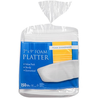 "7"" x 9"" Oval Foam Platter - 150 ct - 84 pk."