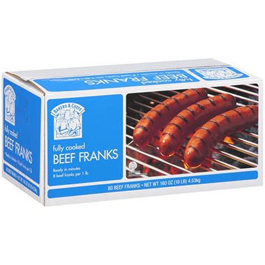Bakers & Chefs Beef Franks - 80 ct.