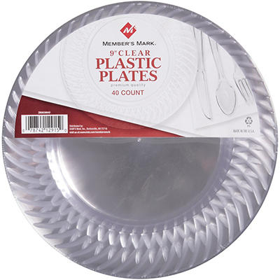 "Member's Mark® Clear Plastic Plates, 9"" (40 ct.)"