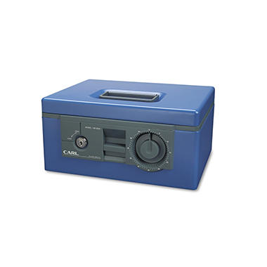 Carl - Security Box with Dual Lock, Removable Cash/Coin Tray, Steel - Blue