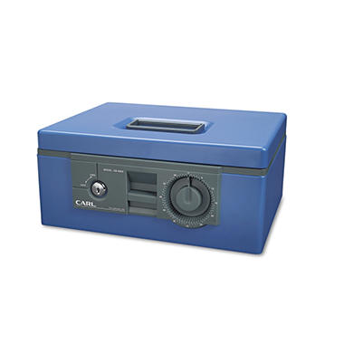 "CARL -12"" Wide Security Box w/Dual Lock, Removable Cash/Coin Tray, Steel - Blue"