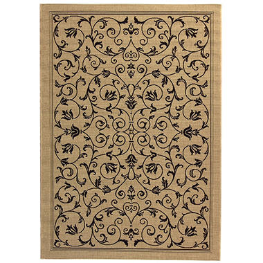 "Courtyard Rug Sand Black 4 × 5 7"" Sam s Club"