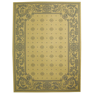 "Courtyard Rug - Natural/Blue 7'10"" × 11'"