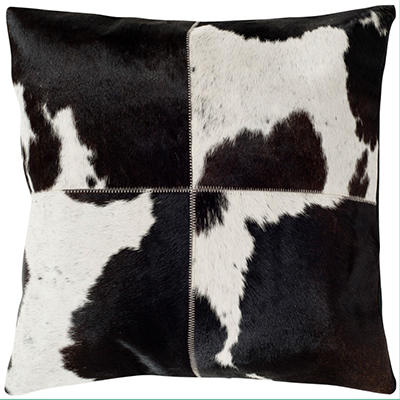 "Sedona Cowhide Pillow, Black & White (20"" x 20"")"