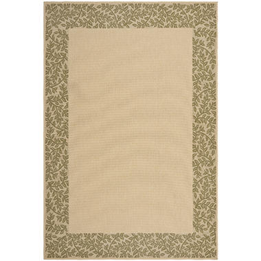 Indoor Outdoor Textured Weave Rug Leaf Border 2 pc