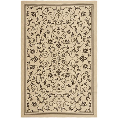 Indoor Outdoor Textured Weave Rug Floral Garden 2 pc