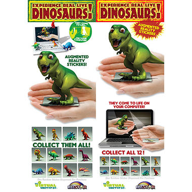 "3D Dino Augmented Reality Stickers - 2.3"" x 2.5"" - 12 ct."