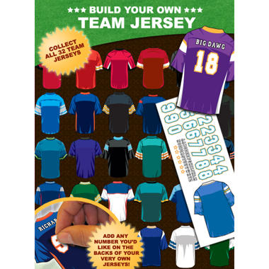 "Custom Football Jerseys Stickers - 9"" x 3.5"" - 32 ct."