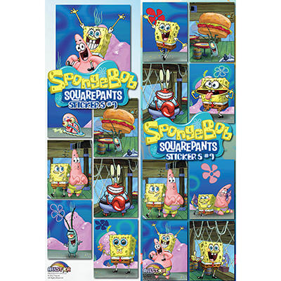 "Spongebob Squarepants Stickers - 3"" x 4"" - 12 ct."