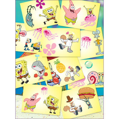 "Spongebob Squarepants Tattoos - 3"" x 4"" - 10 ct."