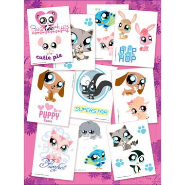 "Littlest Pet Shop Temporary Tattoos - 3"" x 4"" - 10 ct."