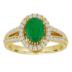 Oval Emerald and Diamond Ring in 14K Yellow Gold