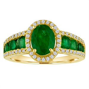 Oval Emerald  with Diamond Ring in 14K Yellow Gold