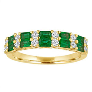 Baguette Emerald and Diamond Ring in 14K Yellow Gold