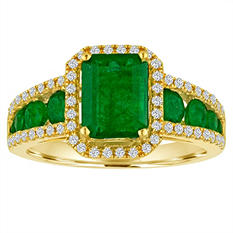 Octagon Emerald Diamond Ring in 14K Yellow Gold