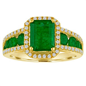 Octagon Emerald Diamond Ring in 14K Yellow Gold