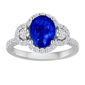 Oval Tanzanite Ring with Diamonds in 14k White Gold