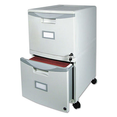 "Storex - 2-Drawer Mobile Filing Cabinet, 14 3/4""W x 18 1/4""D x 26""H - Gray"